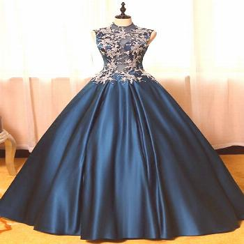 2019 Sexy Open Back High Neck Prom Dresses A Line Satin With Applique VGFPN7YYQNS