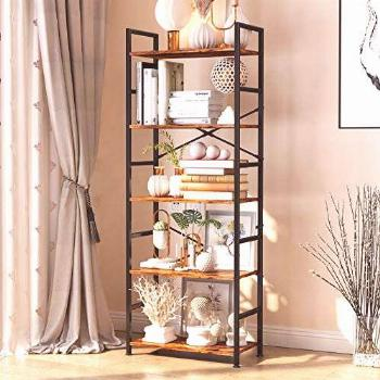 5-Tier Tall Bookcase, Rustic Wood and Metal Standing