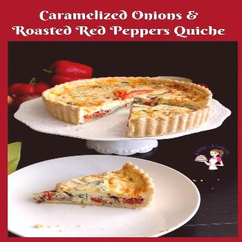 A tender buttery flaky pie crust with cheesy custard-based filling of caramelized onions and roaste