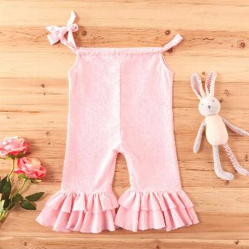 Baby Girl Stylish Bellbottom Layered Solid Onesies * Soft and comfy  * Material: 95% Cotton, 5% Chi