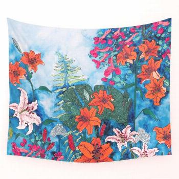 Blue Jungle of Orange Lily and Pink Trumpet Vine Floral Wall Tapestry by Lara Lee Meintjes - Small: