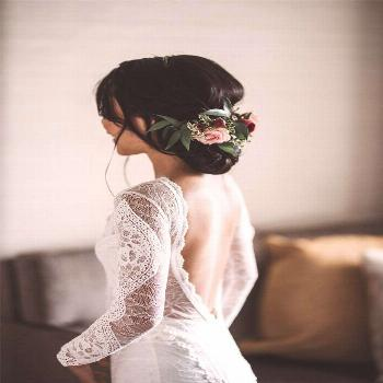 Bohemian Long Sleeve Open Back Wedding Dress &Bridal Gown | Flosluna – FlosLuna