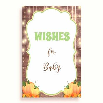 Brown Orange Wishes For Baby Cards & Sign, Autumn Baby Shower Gender Neutral Well Wishes Game Print