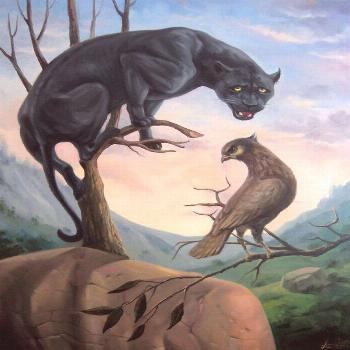 Buy Black panther 60x80cm, oil painting, surrealistic artwork, Oil painting by Artush Voskanyan on