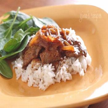 Carne Bistec - Colombian beef with onions and tomatoes Tasty! Carne Bistec - Colombian beef with on