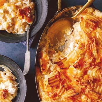 Cheesy Potatoes with Caramelized Onions - Spoon Fork Bacon - -