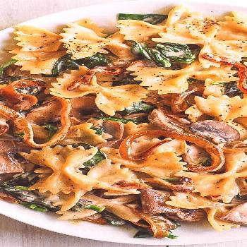 Creamy Bow Tie Pasta with Spinach, Mushrooms, Caramelized Onions - -  Creamy Bow Tie Pasta with Spi