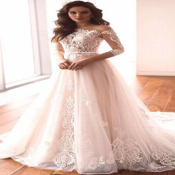 Dazzling tulle one shoulder neckline a line wedding dresses with lace appliques
