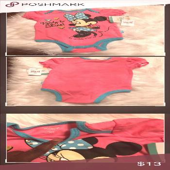 """DISNEY BABY MINNE MOUSE GIRL ONESIES 9 MONTHS DISNEY BABY MINNIE MOUSE """"READY TO SHINE"""" GIRL PI"""