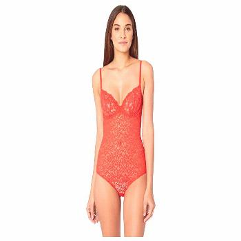 DKNY Intimates Classic Lace Underwire Bodysuit (Flame) Women's Jumpsuit & Rompers One Piece. Revamp