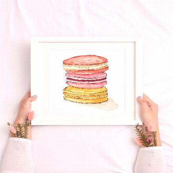 Excited to share this item from my shop: Macaron Art, Food Art, Watercolor Macaron, Dessert Print,