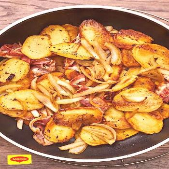 Fried potatoes with bacon and onions -  Crispy and hearty – the perfect way to make the perfect f