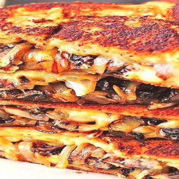Grilled Cheese with Gouda, Roasted Mushrooms and Onions -