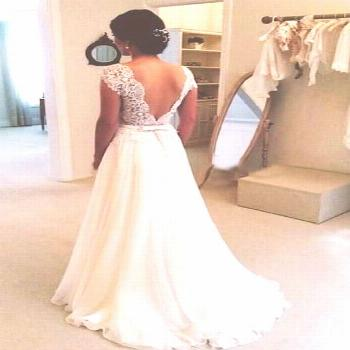 Hot Sale Charming A-line Round Neckline Chiffon Lace Long Open Back Open Back Wedding Dress,Lace Sl