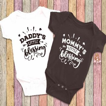 Little Blessing Matching Twins Onesies® -  Twin Baby Shower Gifts - Unisex Twin Onesie® - Daddy's