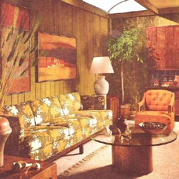 Living Room 1968 - dull green and orange, 70s style with wood panels paintedVintage Living Room 196