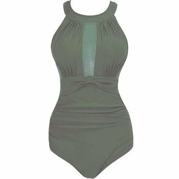 Magical One-Piece Slimming Swimsuit, Green / 4XL