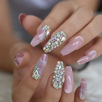 Marble Faux Ongles Large Pink Stones Pre-designed