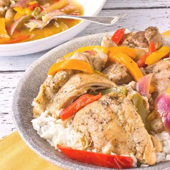 One-Pot Recipe: Braised Chicken Thighs with Bell Peppers and Onions -  One-Pot Recipe:  Braised Chi