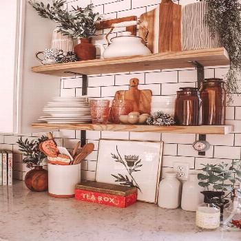 Open shelving and white subway tiles