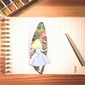 Optical Illusion Drawings Bring Disney Characters to Life on Paper