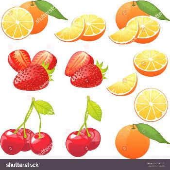 Orange cherry strawberry whole fruit and slices set of isolated vector illustrations ,