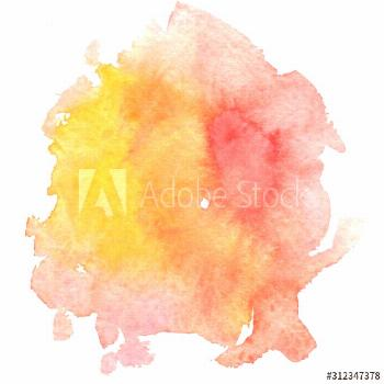 orange watercolor background, paint stain ,