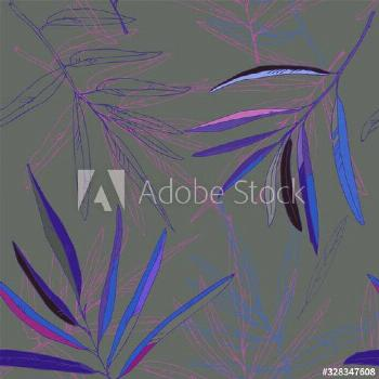 Orange, yellow and green leaves of palm trees on a dusty pink background vector illustration. Seaml