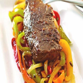 Pan Seared Marinated Hanger Steaks with Peppers and Onions Pan Seared Marinated Hanger Steaks with