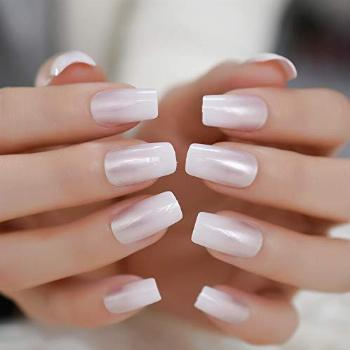 Pearl Shine Glossy Fake Nails Shimmer White Square French