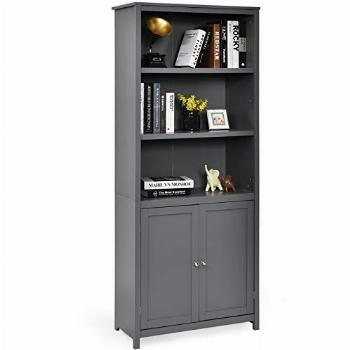 Tangkula Bookcase with Doors, 3 Tier Open Book Shelving,
