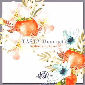 Tasty bouquets,  persimmon fruits and tender flowers.#persimmon