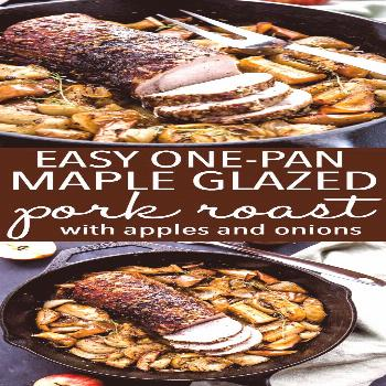 This Easy One Pan Maple Glazed Pork with Apples and Onions is a delicious and healthy holiday-inspi
