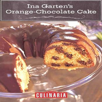 This sweet and citrusy orange chocolate cake from the Barefoot Contessa is studded with chunks of s
