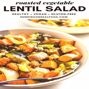 This vegan roasted vegetable lentil salad features roasted carrots, sweet potato, onions and zucchi