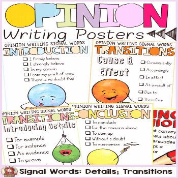 Transition words and phrases (signal words) for the introduction, body and conclusion of the opinio