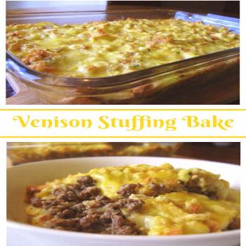 Venison Stuffing Bake: Fried ground venison burger and onions covered with stuff... Venison Stuffin