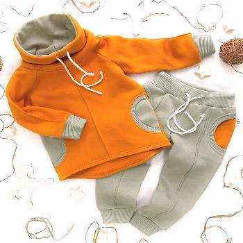 Warm baby orange hoodie and olive pants set | Baby outfit unisex | Hipster clothes | Kids streetwea