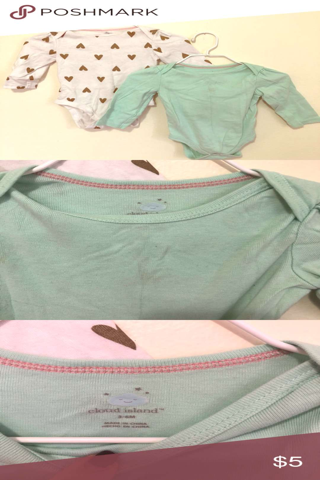 3-6 Months Cloud Island Set of Two Onesies Girl Blue onesie has some discoloration shown in picture
