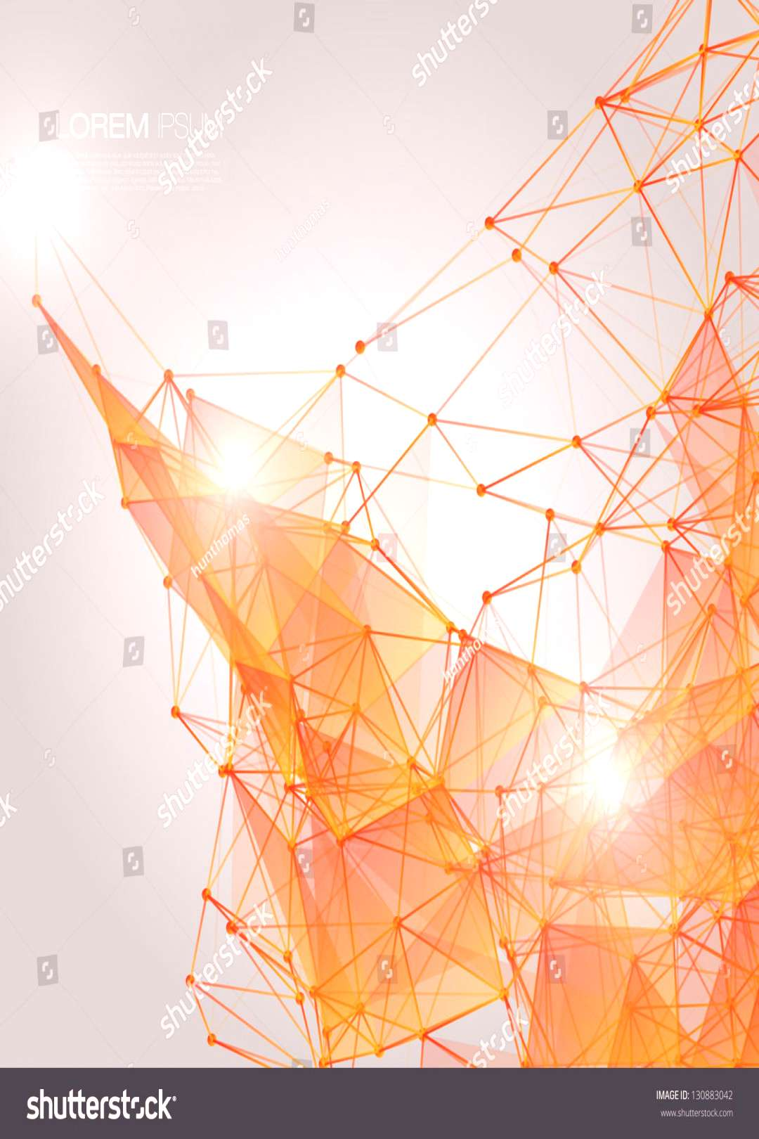3D Orange Abstract Mesh Background with Circles, Lines and Shapes EPS10 Design Layout for Your Busi