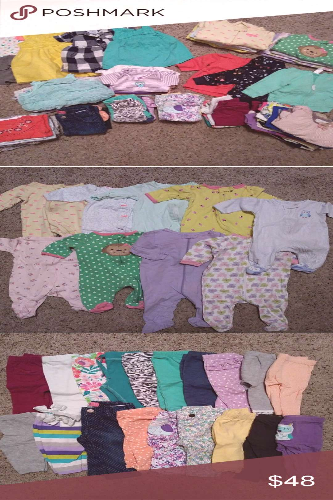 80+ Piece Baby Girl Clothes Size 3-6 Months Assortment of sleepers onesies pants tops dresses aamp 8