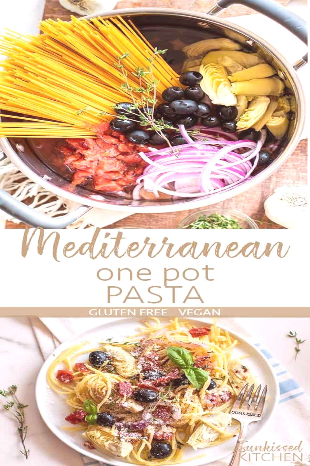 All the ingredients for Mediterranean One Pot Pasta shown in a pot, and a dish of pasta topped with