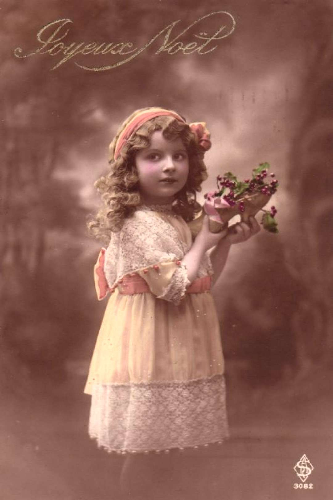 Antique postcard * Girl with currant and orange ribbon