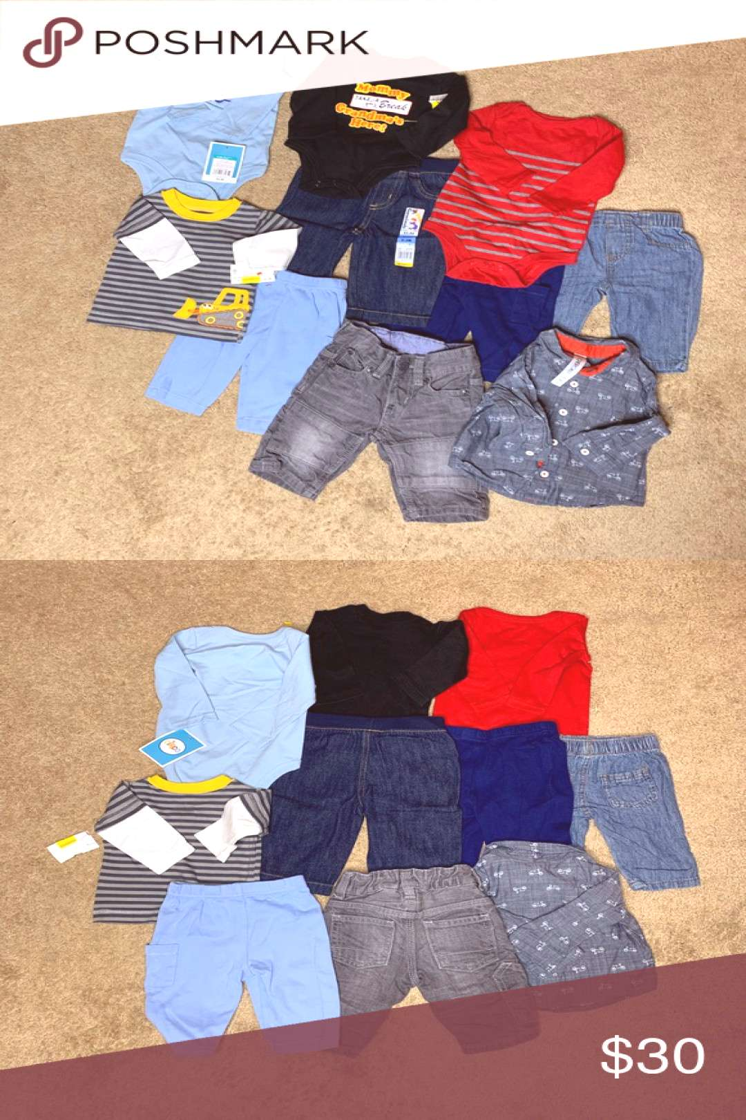Baby Boys 0-3 Months Clothing Lot This lot includes amp 5 Pants amp 3 Long Sleeve Onesies amp 2 Long S