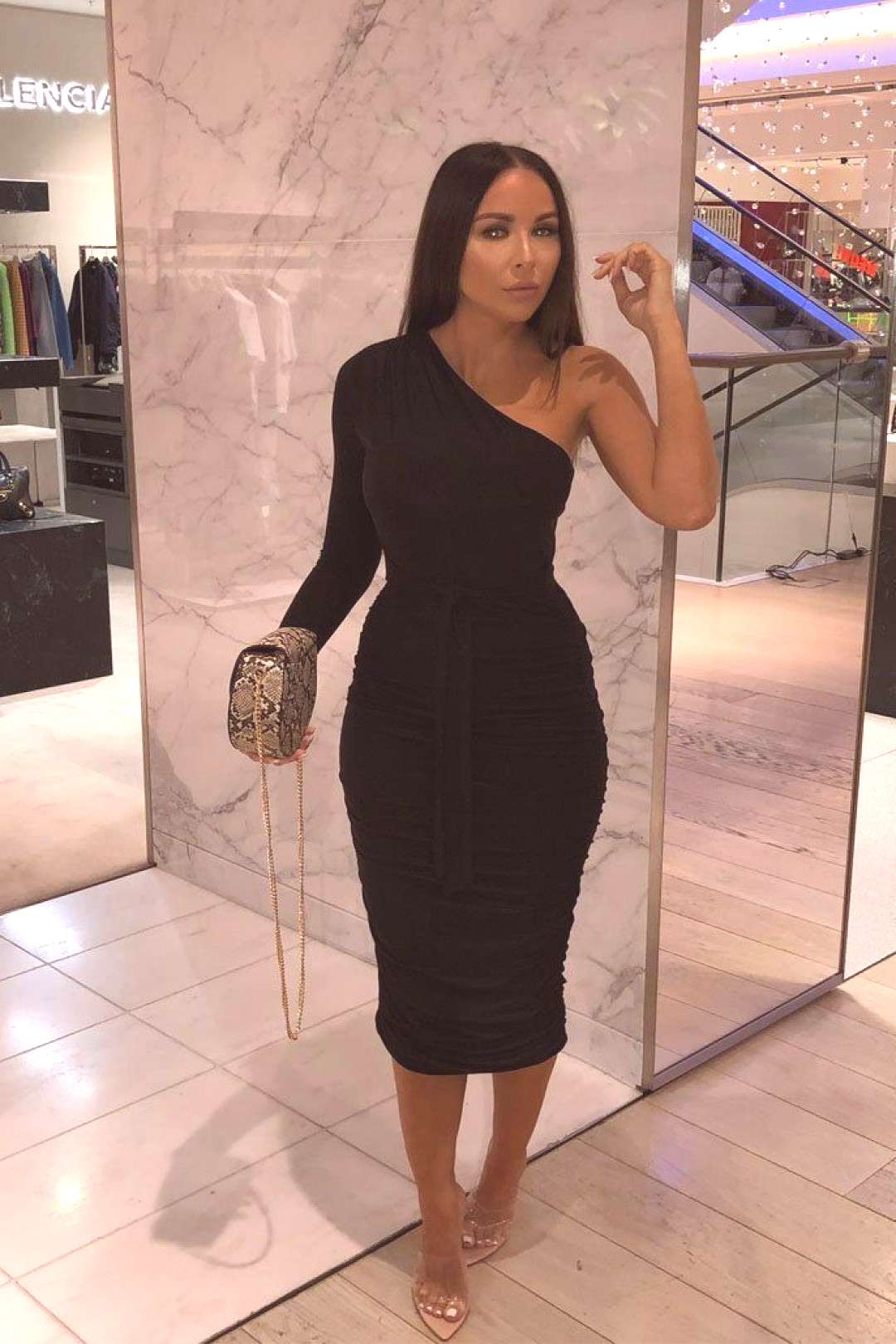 Black Ruched Mesh Overlay Cup Detail Midi Dress | Dresses | Femme Luxe UK