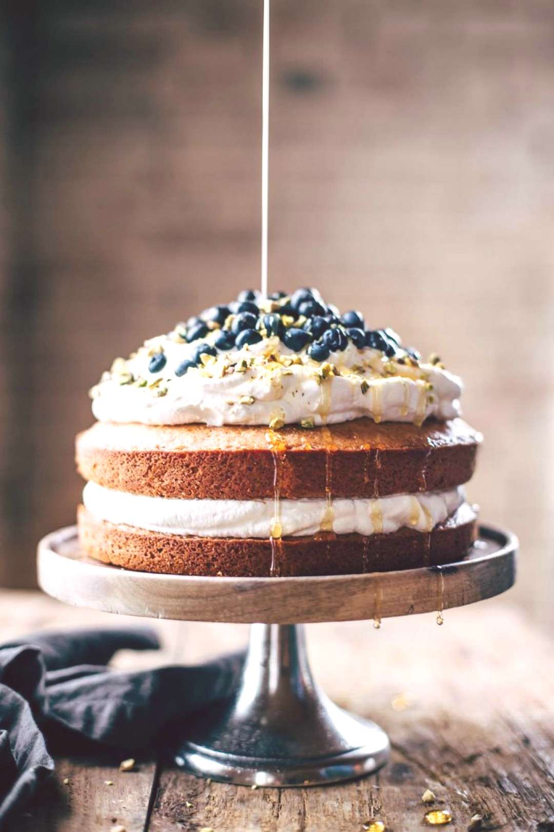 Blueberry Orange Brunch Cake with Agave and Pistachios -