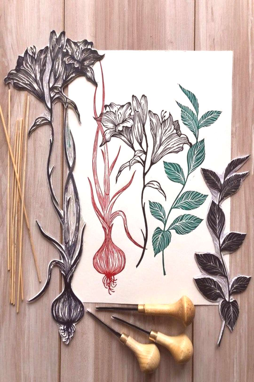 Bouquet with onions. Original linocut print - The original linocut. Each print has sign, date and