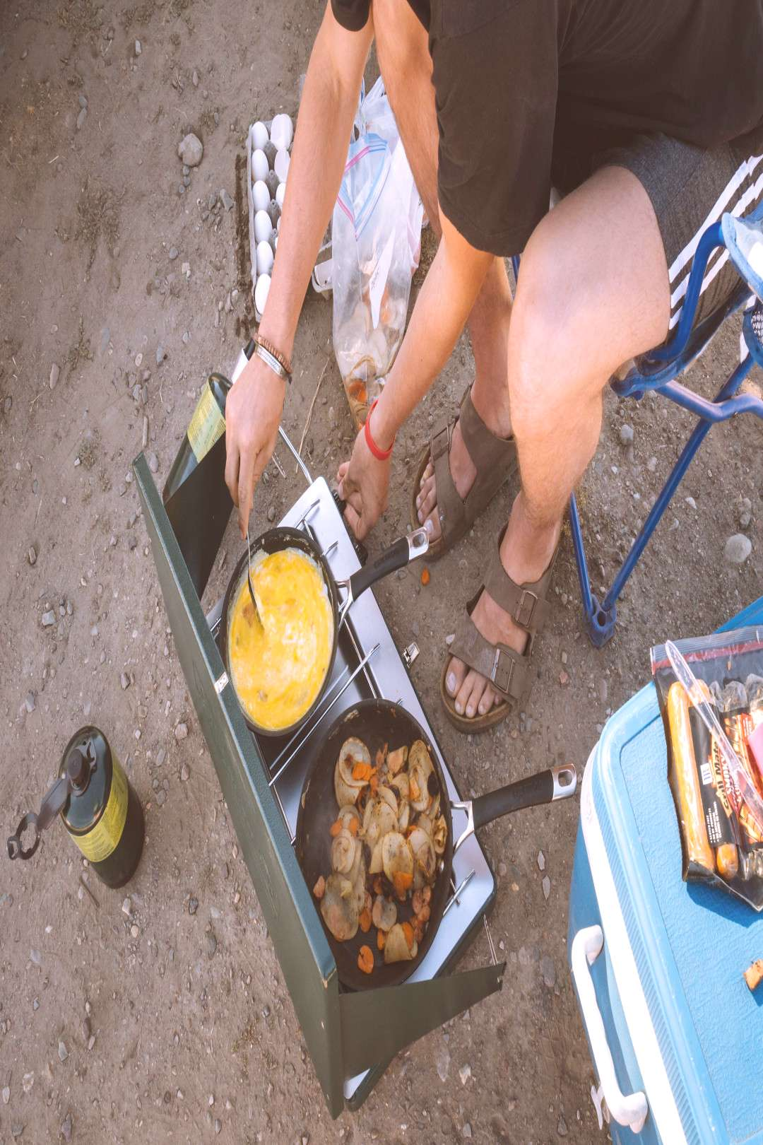 Camp Breakfast – Scrambled eggs, potatoes, carrots, onions, amp left-over sausages. – Camping -