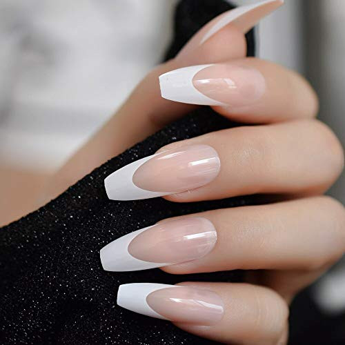 CoolNail White French Ballerina Fake Nails Natural Nude