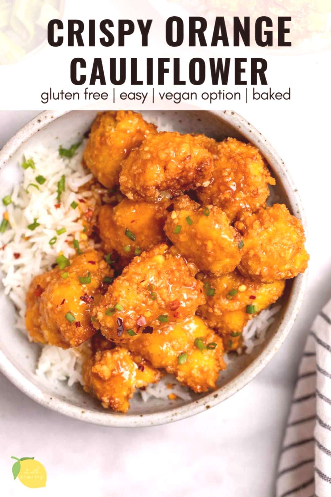 Craving Chinese food? This crispy orange cauliflower recipe is for you! its gluten free, baked, ea